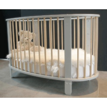Lit b b cocon 60x120 gris bambins d co for Lit ovale bebe
