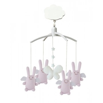 Mobile musical ange lapin rose