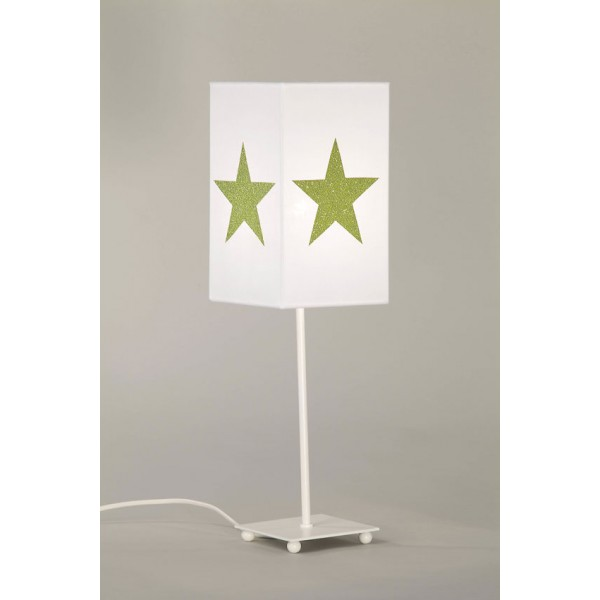 Lampe de chevet blanc toiles paillettes bambins d co for Lampes de chevet enfant