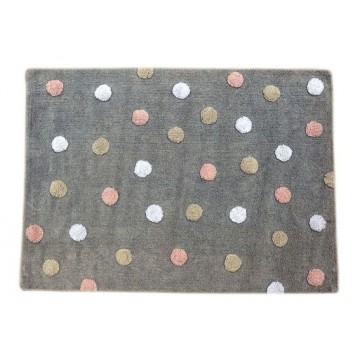 Tapis à pois gris clair multicolore rose