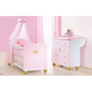 Lit b b commode princesse caroline bambins d co for Commode bebe rose